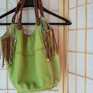 Genuine Leather Boho hobo/tote/bucket